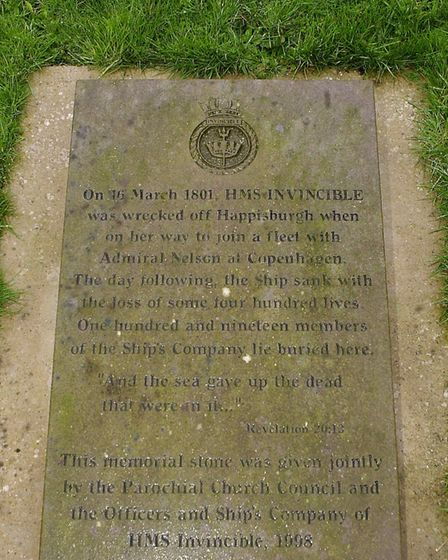 The memorial stone to the drowned crew of HMS Invincible, which foundered on the Hammond Knoll in March 1801