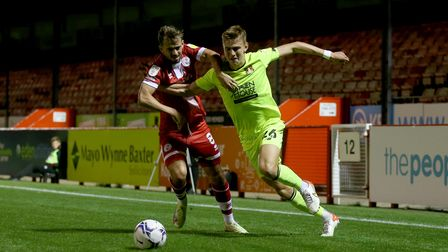 Hector Kyprianou of Leyton Orient and Jack Powell of Crawley Town during Crawley Town vs Leyton Orie