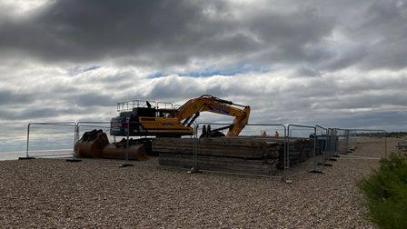 Heavy machinery has arrived on Thorpeness beach to tackle erosion