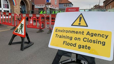 The Environment Agency came and tested the Wells flood gate down by The Quay.