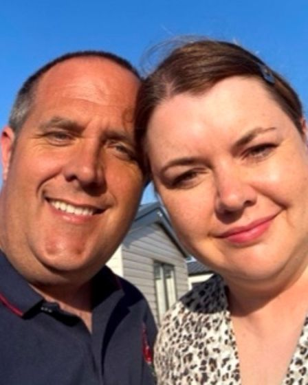 Selfie of Matthew and Lisa Overton who have converted a farm building in Norfolk into a family home