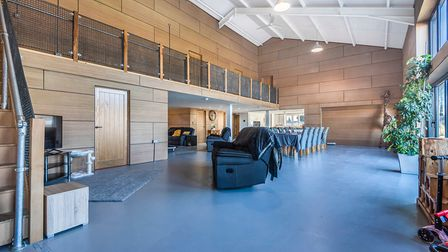 Open-plan reception space in a converted barn in Marshland St James, King's Lynn, which is for sale