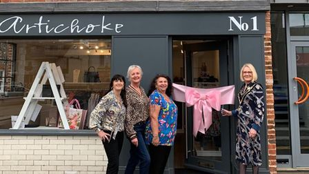 Sarah Simonds (left, centre) with friends and Mayor of Swaffham,Judy Anscombe, outside the Artichoke on London Street.
