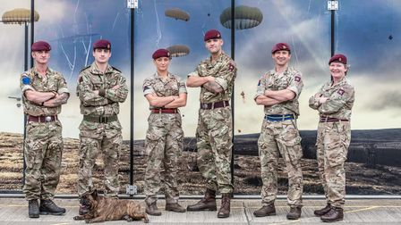 Soldiers from the 16 Air Assault Combat Team who have been involved with evacuation in Kabul. L-R W