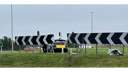 Driver's mishap at the A1 Black Cat roundabout