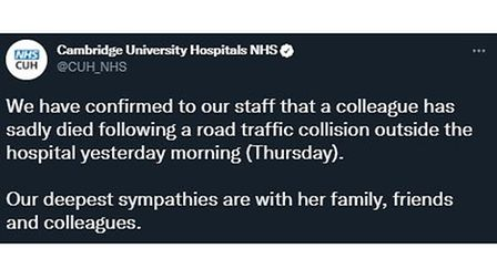 Cambridge University Hospitals NHSissued the following message on Twitter this morning.