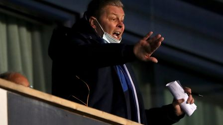 Shrewsbury Town manager Steve Cotterill in the stands during the Sky Bet League One match at Montgom