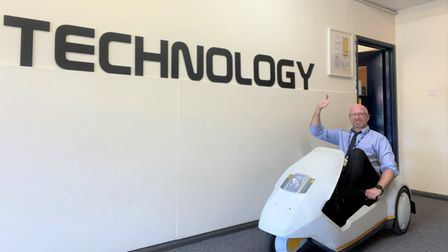 Dave Bausor, lead practitioner for design and technology at Ely College, cruised around in a Sinclair C5