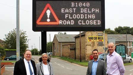 Councillors at new highways sign in Whittlesey