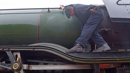 Flying Scotsman being cleaned at Dereham Mid Norfolk Railway. Pictures: Brittany Woodman