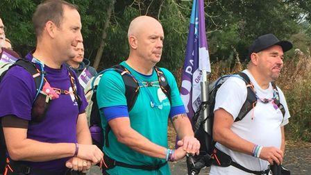3 Dads Walking begin their journey. Tim Owen, Mike Palmer and Andy Airey