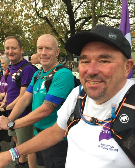 3 Dads Walking start their journey. Tim Owen, Mike Palmer and Andy Airey
