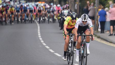 Two cyclists lead the pack in the Women's Tour as they arrive in Sudbury during stage six. Picture: