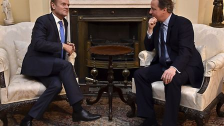 Prime Minister David Cameron (right) meets with European Council president Donald Tusk on Sunday Jan