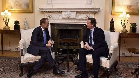 Prime Minister David Cameron (right) meets with European Council president Donald Tusk at 10 Downing