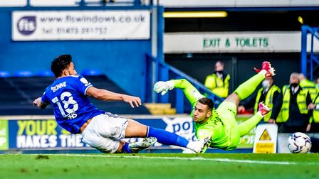 Macauley Bonne dives in, but was a whisker away from getting a foot to the ball, in this second half