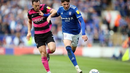 Ipswich Town's Matt Penney (right) and Shrewsbury Town's Shaun Whalley battle for the ball during th