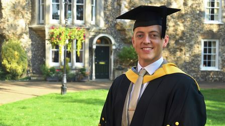 Dominic Whiteley was among the students celebrating the end of their degree