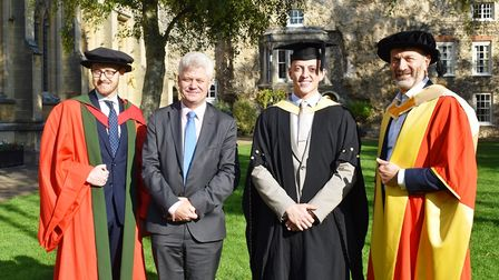 Dr Chris Meredith, Dr Andrew Neely, student of the year Liam Wightley and Dr Nikos Savvas