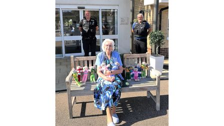Peggy Rozier, 94, of Cedrus House in Stowmarket, with PC Stefan Henriksen and PCSO David Harvey