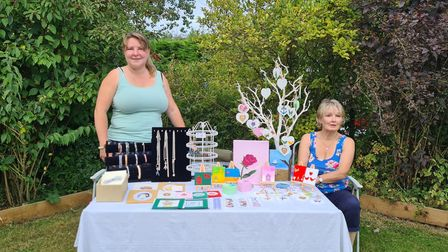 One of the stands at the Macmillan coffee morning in Bedfield near Framlingham