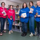 Five adults at the Book Hub launch, Great Dunmow, Essex