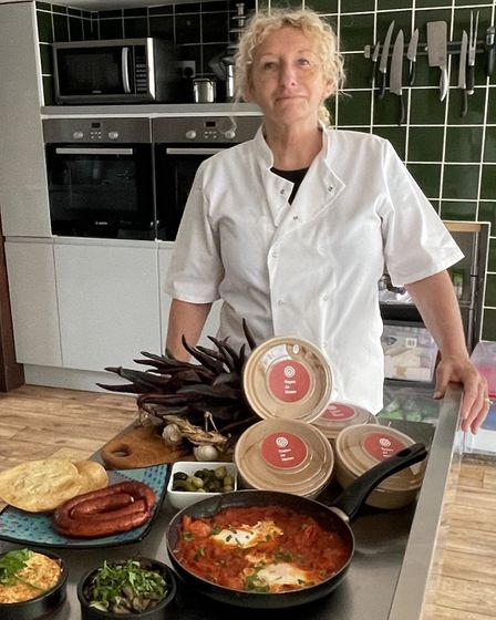 Pamela of Tapas at home, Eye, Suffolk with a variety of her dishes and ingredients