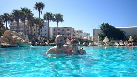 Steve and Louise, from Dereham, finally enjoying their holiday in Cyprus