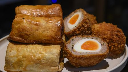 Sausage rolls and scotch eggs for sale at Trio's restaurant in St Peter's Hall, Bungay. Picture: Dan