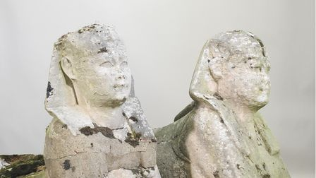 The two ancient Egyptian Sphinx statues that were found in a Suffolk garden