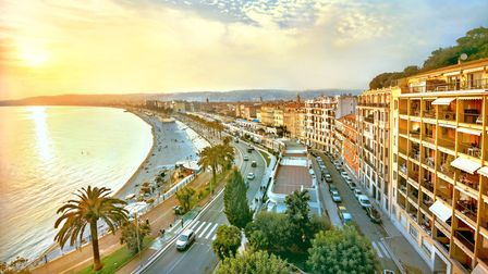 Sunset on the Promenade des Anglais in the French city of Nice