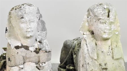 The sphinxes found in Clare, near Sudbury, Suffolk are likely genuine ancient egyptian artifacts