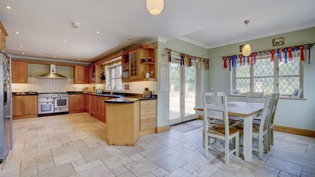Large modern kitchen/breakfast room in this 5-bed equestrian home for sale in Rollesby, Norfolk