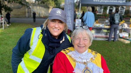 Mayor of Ely, Sue Austen (R) with Tourism and town centre manager, Anna Bennett (L).