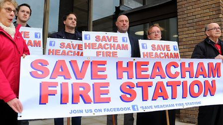 Save Heacham Fire Station supporters outside County Hall, Norwich. Photo : Steve Adams