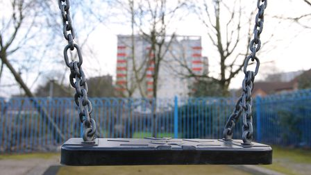 A children's play area in Ladywood, Birmingham which is one of the worst areas in the country for ch