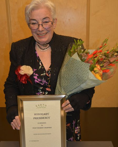 EARTH paid tribute to long-serving member Victoria Hearne-Casapieri who has stood down as chairwoman after 15 years.