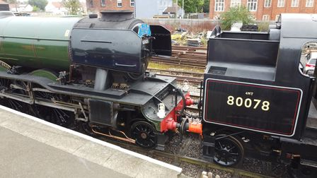 Flying Scotsman being moved for cleaning at Dereham station