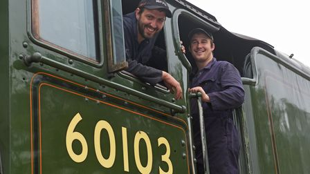 Joe and Lewis, part of the Mid Norfolk Railway team, aboardFlying Scotsman at Dereham station