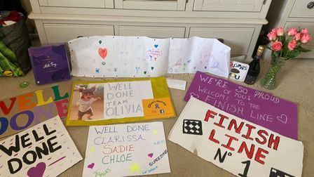 When Clarissa made it to the Children's ward at Hinchingbrooke Hospital, she was greeted at the finish line by friends.