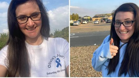 Clarissa Constable (pictured) walked 26-miles from March to Huntingdon on Saturday October 9