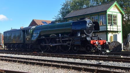 Flying Scotsman at Dereham station during its stay on the Mid Norfolk Railway