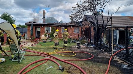 Norfolk fire service have revealed new photos showing the aftermath of a blaze which destroyed a bungalow in Narborough.