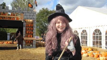 A witch at Cammas Hall Farm for Halloween.