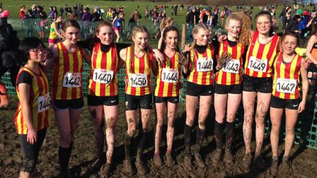 City of Norwich under-15 girls retained their title after winning gold at the South of England Cross