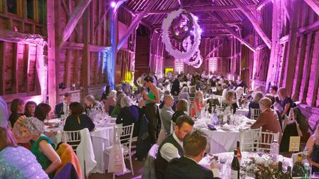 The barn decorated for Katy Stephenson's Target Ovarian Cancer event
