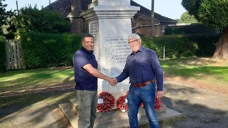 Dr Paul Williams, Chair of Upwell War Memorial and Chris Fisher, Operations Manager of CGM