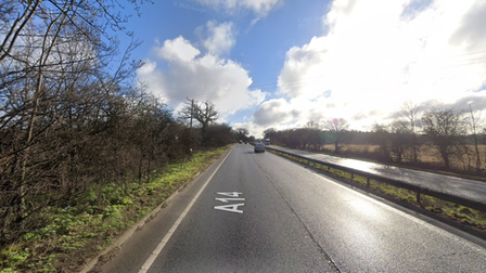 A single vehicle crash is causing delays on the A14 near Bury St Edmunds
