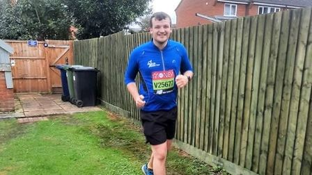 Jordan Lancaster, from Ramsey, ran the London Marathon from his back garden after catching Covid-19