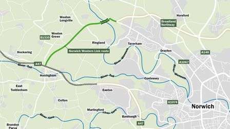 The route of the proposed Western Link. Pic: Norfolk County Council.